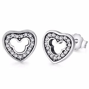 Mickey Mouse CZ heart studs
